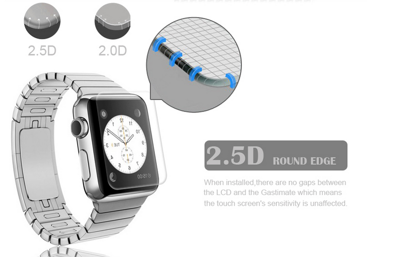 2.5D rounded edge iwatch tempered galss fomax
