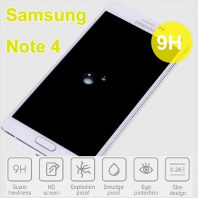 9H Rounded edge tempered glass for Samsung Note4
