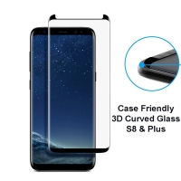 Samsung Galaxy S8 and S8 plus 3D Curved Case Friendly Tempered Glass Screen Protector 9H